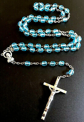 Vintage Aqua Blue Glass Rosary Silver Tone Crucifix & Center Made In Italy