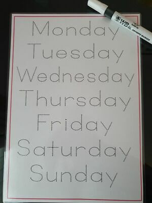 Learn to write worksheets. Days of the week. A4 laminated. Wipeable