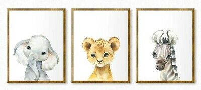 3 x  A4 Nursery/Baby wall prints African Animals gift boy girl Lion, Elephant