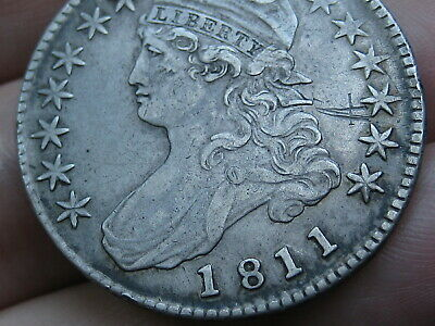 1811 Capped Bust Half Dollar- Small 8, VF Details