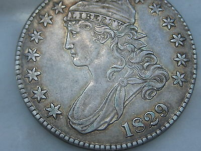 1829 Capped Bust Half Dollar-XF/AU Details, Toning