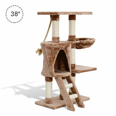 Cat Tree Condo Scratching Sisal Post W/ Ladder Hammock Kitty Activity Center
