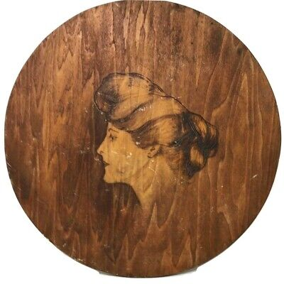 Handcarved Wood Etching Praire Famer Woman Lady Portrait Wall Hanging Plaque