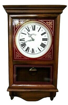 Vtg Cornwall Pendulum Westminster & Ave Maria Chime Wall Clock Wood & Glass 30""