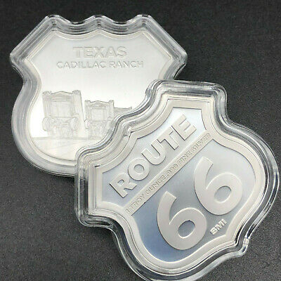 Apmex 1 Oz  Silver Icons Route 66 Shield Shape 999 Fine Silver Bullion Bar #40