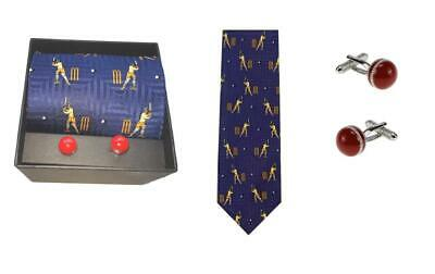 Smart Luxury Cricket tie and cufflinks - singly or as a set