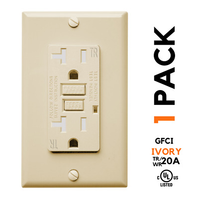 20A GFCI GFI TR/WR Tamper Weather Resistant Receptacle Outlet, IVORY, UL w/Cover
