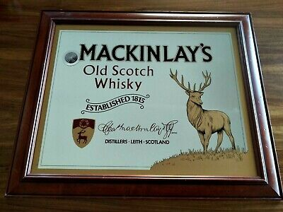 Vintage Mackinlays Scotch Whisky Mirror  Bar Pub Mirror Deer Stag
