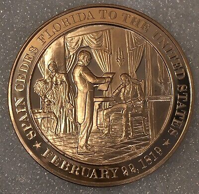 "USA History 🇺🇸 ""Year 1819"" Franklin Mint 44mm Proof Bronze Medal"