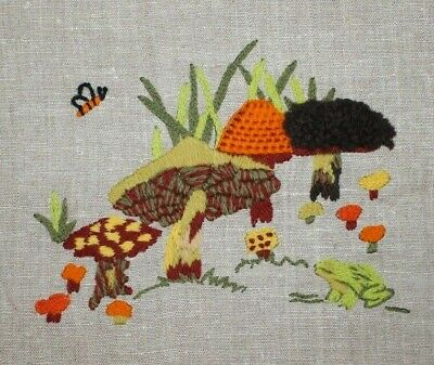 Mushrooms in Forrest Yard Ground Crewel Embroidery Completed Finished