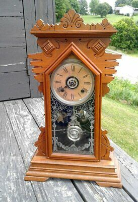 Antique Ansonia Chiming Oak Mantle Kitchen Clock with Alarm CARLTON Walnut 1900s