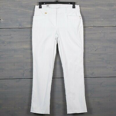 JM Collection Womens Sz 12 White Straight Leg Curvy Fit Pants Comfort Waist NWT