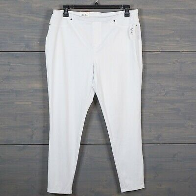 Style Co Womens Size 2XL White Twill Pull On Leggings Mid Rise Comfort Waist NWT