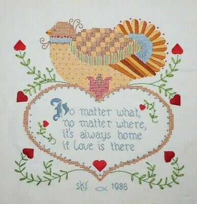 """Dimenions """"Home Is Love"""" #3043 Heart Hand Embroidered Crewel Completed Finished"""