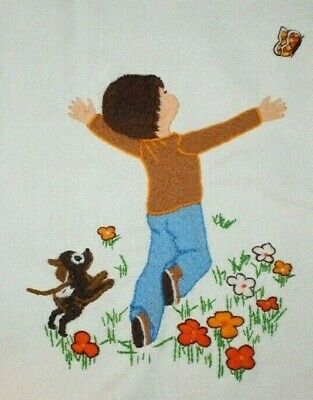 Sunset Designs Boy and Dog Flower Garden Crewel Embroidery Completed
