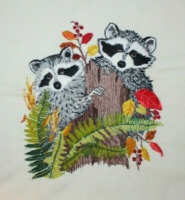 """Paragon """"Adorable Bandits"""" 0945 Two Raccoons Forest Crewel Embroidery Completed"""