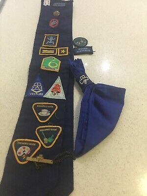 GIRL GUIDES BROOCH AND BADGES ,SCARF, Vintage