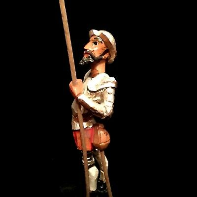 """Don Quixote Ouro Artesania Painted Wood Carving Sculpture Figure 12"""" Mid Century"""