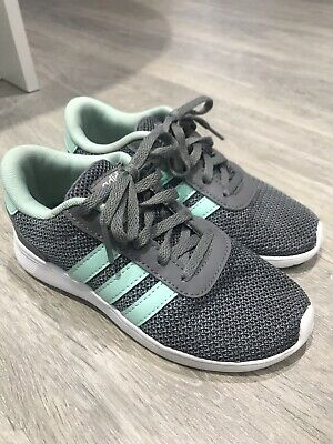 Girls Adidas Trainers Grey Mint Green Size 13 Excellent Condition