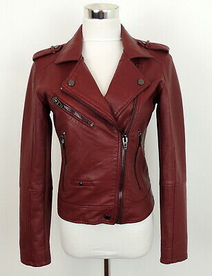 Blank NYC S Vegan Faux Leather Moto Jacket Oxblood Red Trendy Motorcycle Zippers