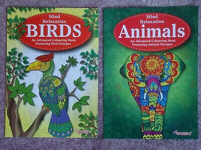 MIND RELAXATION - ADULTS COLOURING BOOK - BIRDS or ANIMALS - ANTI-STRESS