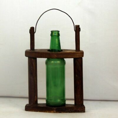 Antique Wooden Hand Carved Fine Vine/ Cold Drink Bottle Holder with Iron Handle