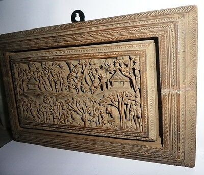 Vintage Wooden Miniature Hand Carving Wall Hanging Panel with Fine Subject India