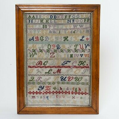 Antique Cross Stitch Embroidery Sampler Alphabet Letters Numbers Roman Numerals