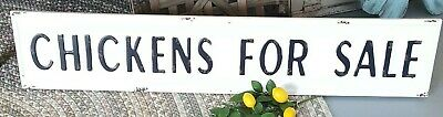 """""""Chicken For Sale"""" SIGN EMBOSSED METAL FIXER UPPER STYLE Black/White"""