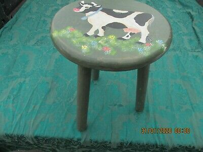 MILKING STOOL  Hand Painted  cow scene
