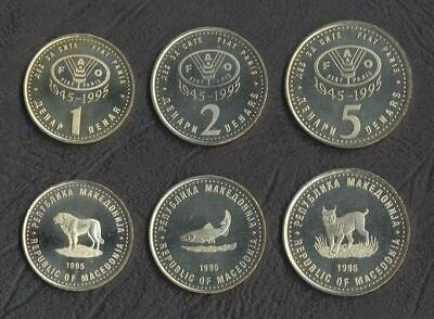 MACEDONIA 1 DENAR 1995 FAO SHEEP KM 5a DOG UNC LOT 10 COINS