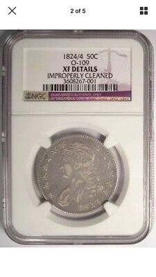 1824/4 Capped Bust Silver Half Dollar NGC XF O-109 Type 1 Rare Coin Great Detail