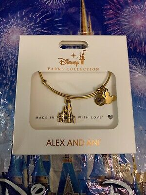 Disney Parks Cinderella Castle Bracelet Bangle by Alex and Ani Gold Finish New