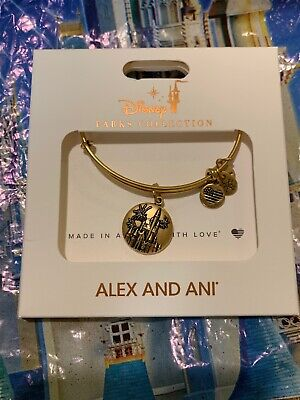 Disney Alex and Ani Cinderella Castle Bracelet Fireworks WDW Bangle GOLD NEW