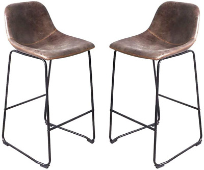 Bar Stools Set of 2 Rustic Vintage Retro Leather Industrial Style Seating Cafe