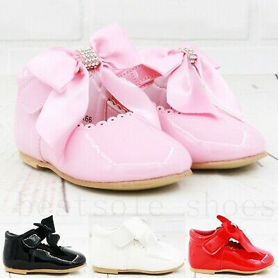 Kids Baby Infants Girls Ribbon Bow Spanish Wedding Party Patent Toodler Shoes Sz