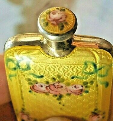 Fine Double Sided Sterling Silver & Yellow Guilloche Perfume scent Bottle