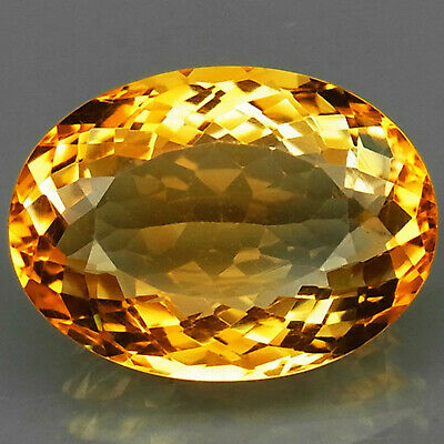 16.33 ct. Natural Golden Yellow Citrine Brazil Oval Facet Unheated