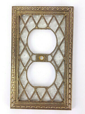 Vintage Metal Ornate Pearl Diamond Outlet Wall Plate Cover Bronze Patina