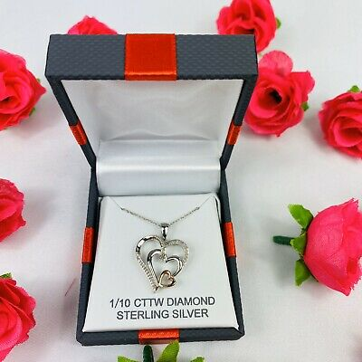 REAL GENUINE DIAMOND HEART NECKLACE 1/10 CT VALENTINES DAY Women's Wife Pendant