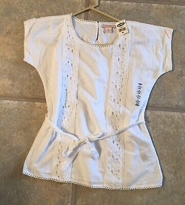(NWT) Old Navy Girls Size XL (12-14) White Short Sleeve Lined Cotton Top