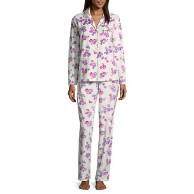 Adonna Microfleece Ivory Floral Collared Pant Pajama Set - Women's Size 2XLarge