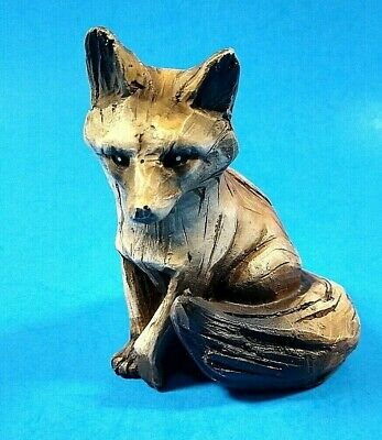 FOX FIGURINE Carved Faux Wood Resin Rustic Appearance