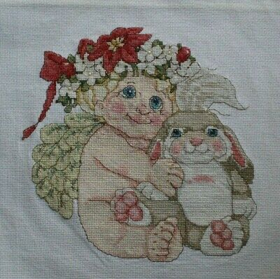 Dreamsicles Christmas Cherub Angel Poinsettia Cross Stitch Complete Finished