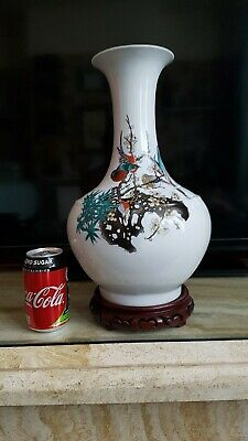 LARGE CHINESE PORCELAIN CALLIGRAPHY VASE QING DYNASTY Birds and Foliage.