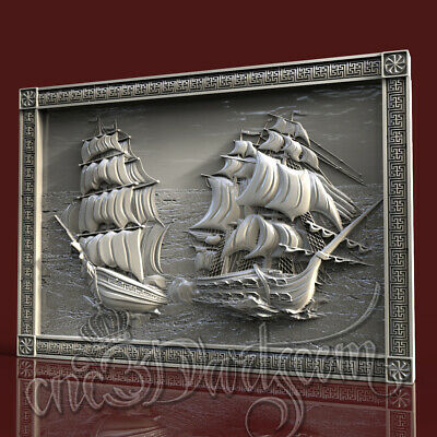 3D Model STL for CNC Router Artcam Aspire Sea Panel Two Corvettes Cut3D Vcarve