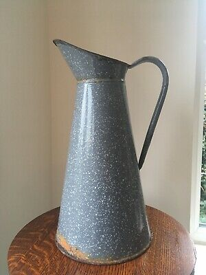 Large Antique Mottled Grey Enamel Tin Jug. French Water Wash Shabby Chic Vintage