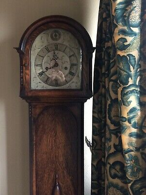 Small long case clock - oak (Victorian?) Collect only. 67inches tall