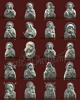 20+ 3D Models STL 4 CNC Router Artcam Religion The Virgin Face Set Cut3D Vcarve