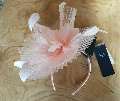 Bnwt Marks & Spencer Blush Pink Fascinator Feathers Headpiece Rrp £29.50